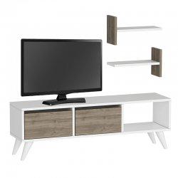 Έπιπλο τηλεόρασης FOXY TV pakoworld σε χρώμα λευκό-καρυδί 120X30X40