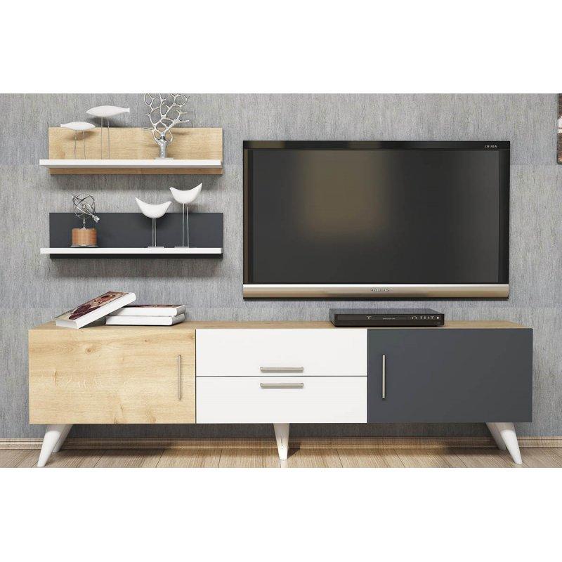 Έπιπλο τηλεόρασης ONLY TV pakoworld χρώμα λευκό-φυσικό-ανθρακί 160x32x45