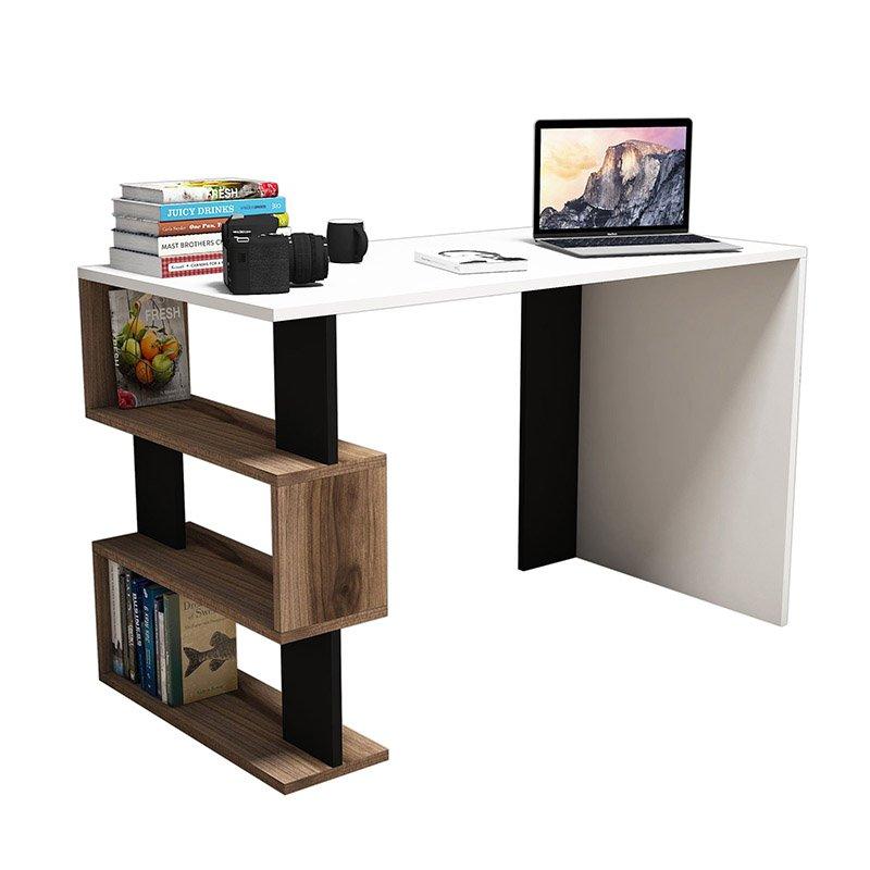 Γραφείο SNAP pakoworld λευκό με καρυδί-μαύρες λεπτομέρειες 120x60x75εκ