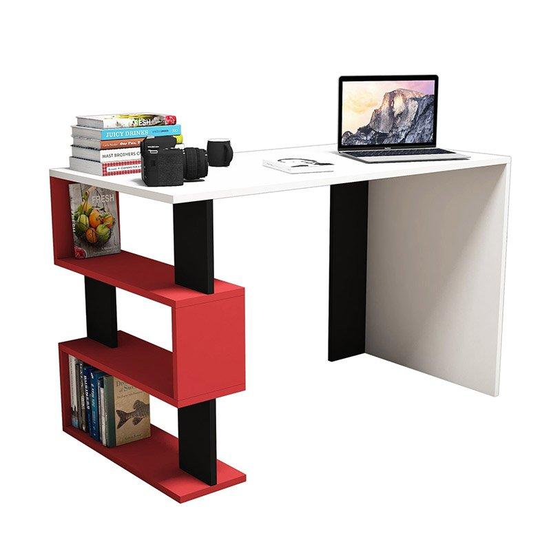 Γραφείο SNAP pakoworld λευκό με κόκκινες -μαύρες λεπτομέρειες 120x60x75εκ