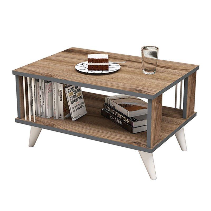 Τραπέζι σαλονιού Negro pakoworld σε χρώμα καρυδί 70x50x40εκ