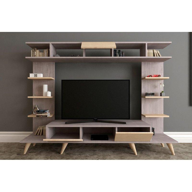 Σύνθεση σαλονιού Pan TV pakoworld unit χρώμα σταχτί-φυσικό 180x35x135εκ