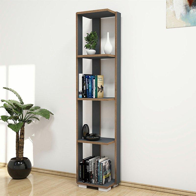Βιβλιοθήκη - στήλη Negro pakoworld χρώμα ανθρακί - καρυδί 34x26x153εκ