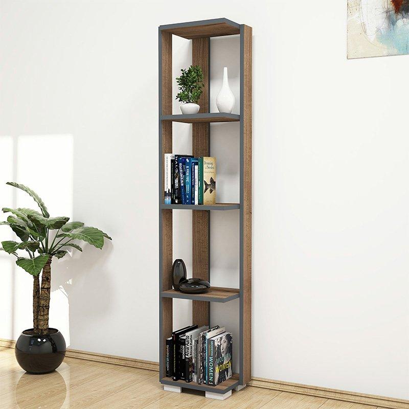 Βιβλιοθήκη - στήλη Negro pakoworld χρώμα καρυδί - ανθρακί 34x26x153εκ