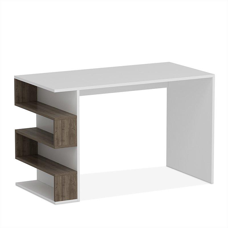 Γραφείο Limber pakoworld χρώμα λευκό - καρυδί 120x60x75εκ