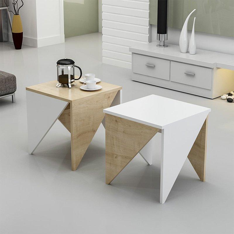 Τραπέζι σαλονιού Primes Zigon pakoworld 2τεμ χρώμα λευκό - φυσικό 45x45x49εκ