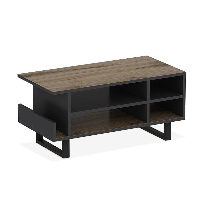 Τραπέζι σαλονιού Leno pakoworld χρώμα καρυδί - ανθρακί 45x90x43εκ