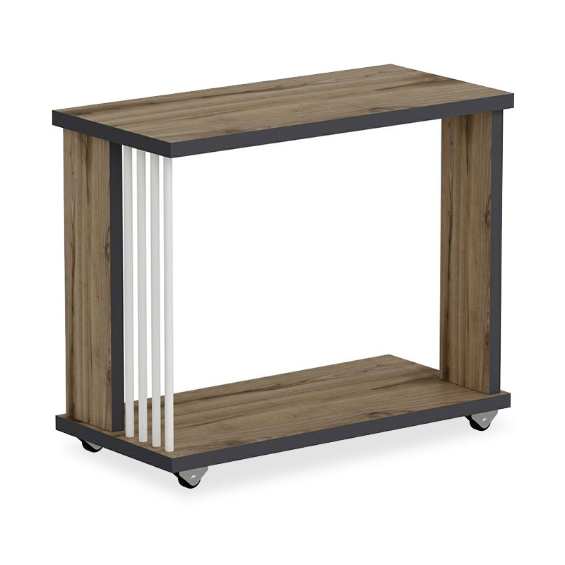 Βοηθητικό τραπέζι σαλονιού Negro pakoworld σε χρώμα καρυδί-ανθρακί 50x24x42εκ