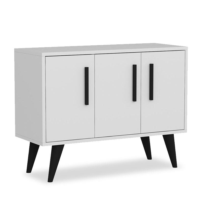 Παπουτσοθήκη Larissa pakoworld 9 ζεύγων χρώμα λευκό-μαύρο 90x35x65εκ