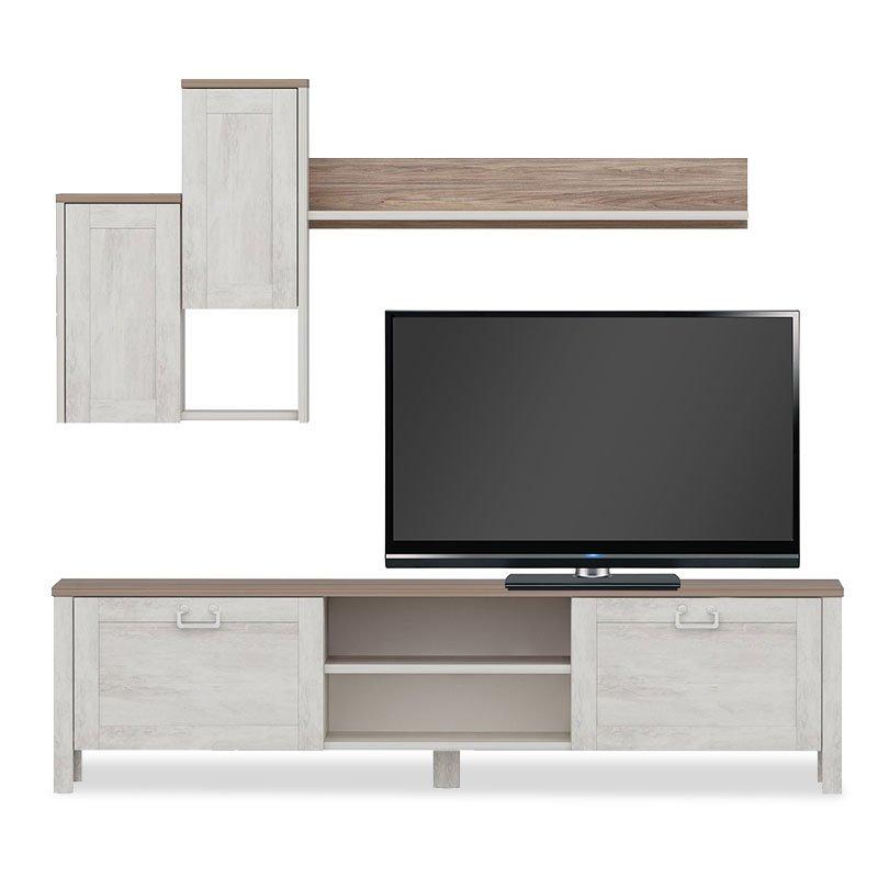 Σύνθετο σαλονιού Sento tv pakoworld χρώμα λευκό antique-καρυδί 160x35x42εκ