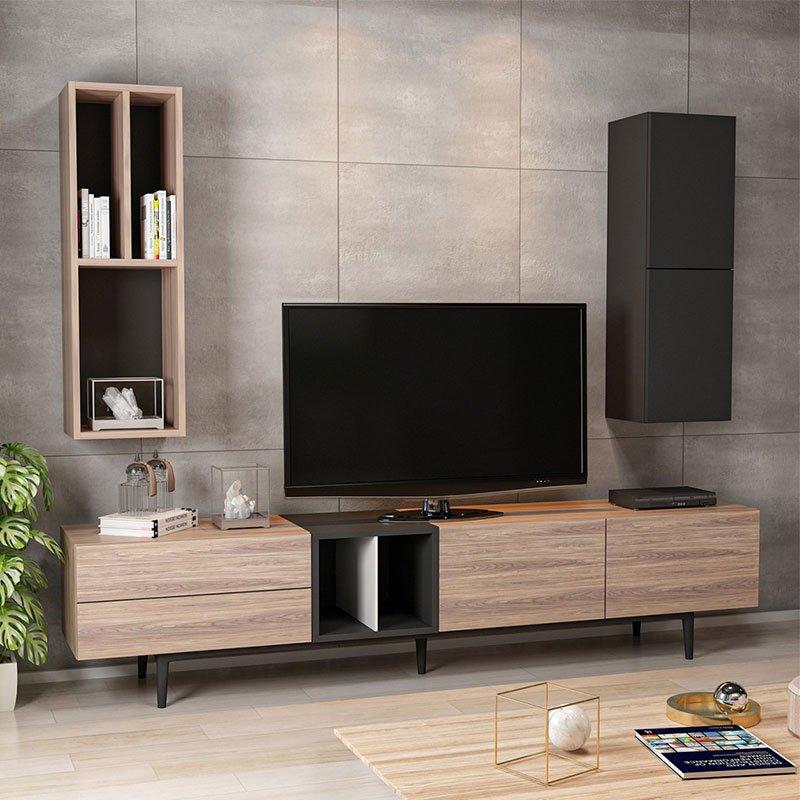 Σύνθετο σαλονιού Diany tv pakoworld χρώμα καρυδί-μαύρο 195x37x45εκ