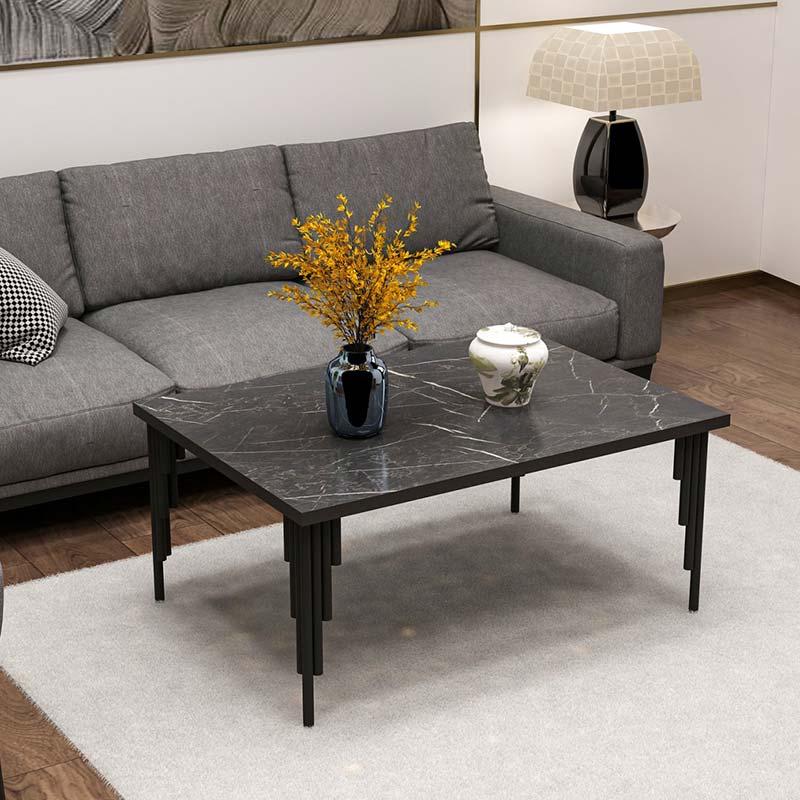 Τραπέζι σαλονιού Irems pakoworld χρώμα μαύρο μαρμάρου 92x68x42εκ