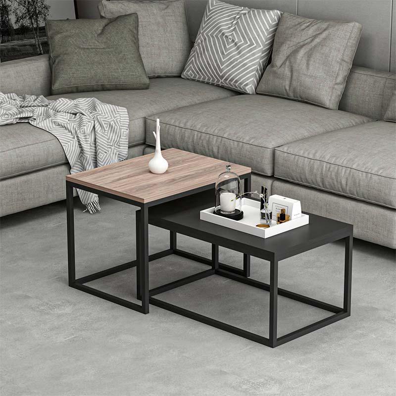 Τραπέζι σαλονιού Leka pakoworld χρώμα καρυδί - μαύρο 60x45x47εκ