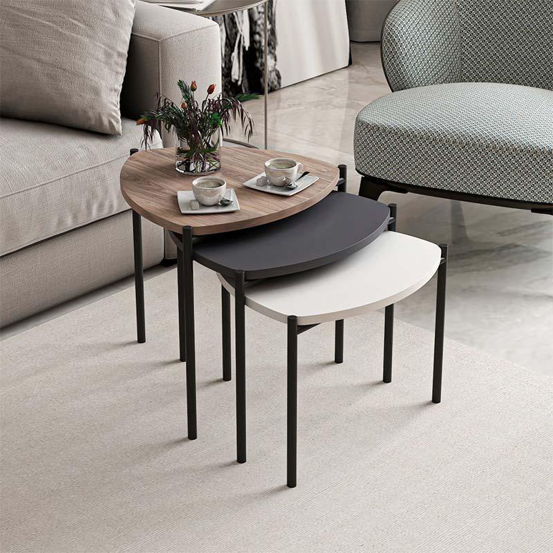 Τραπέζι σαλονιού Lenny pakoworld σετ 3τεμ χρώμα καρυδί-ανθρακί-λευκό 45x45x41εκ