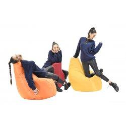 Πουφ πολυθρόνα Basic pakoworld υφασμάτινο αδιάβροχο πορτοκαλί