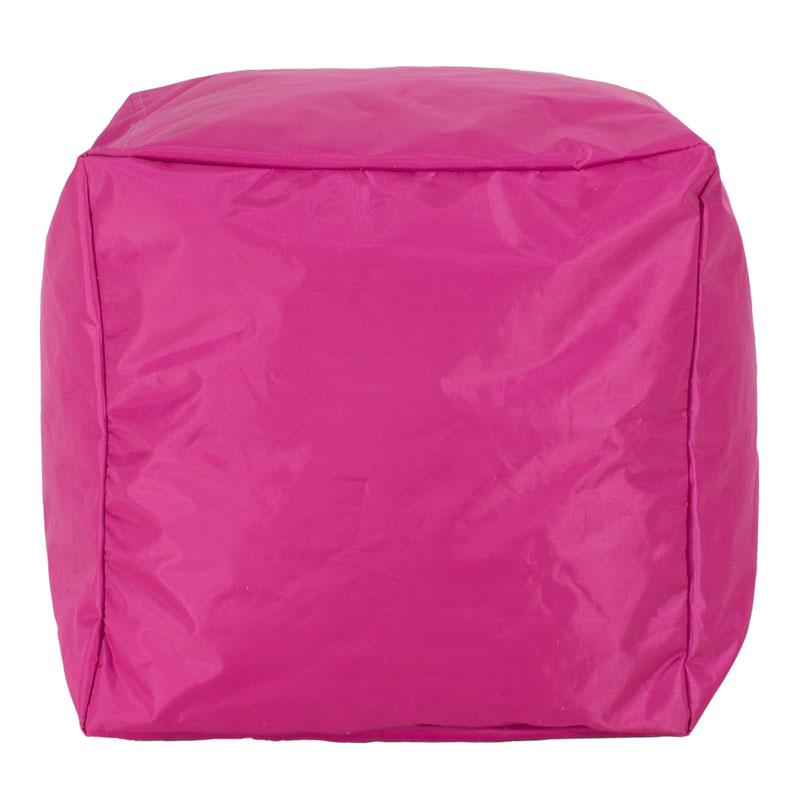 Πουφ σκαμπό Cube pakoworld επαγγελματικό με φούξια-ροζ αποσπώμενο 100% αδιάβροχο κάλυμμα