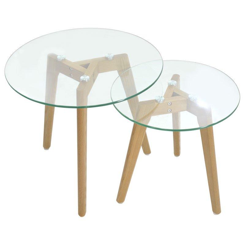 Βοηθητικά τραπέζια σαλονιού SMITH pakoworld γυάλινα σετ 2τμχ