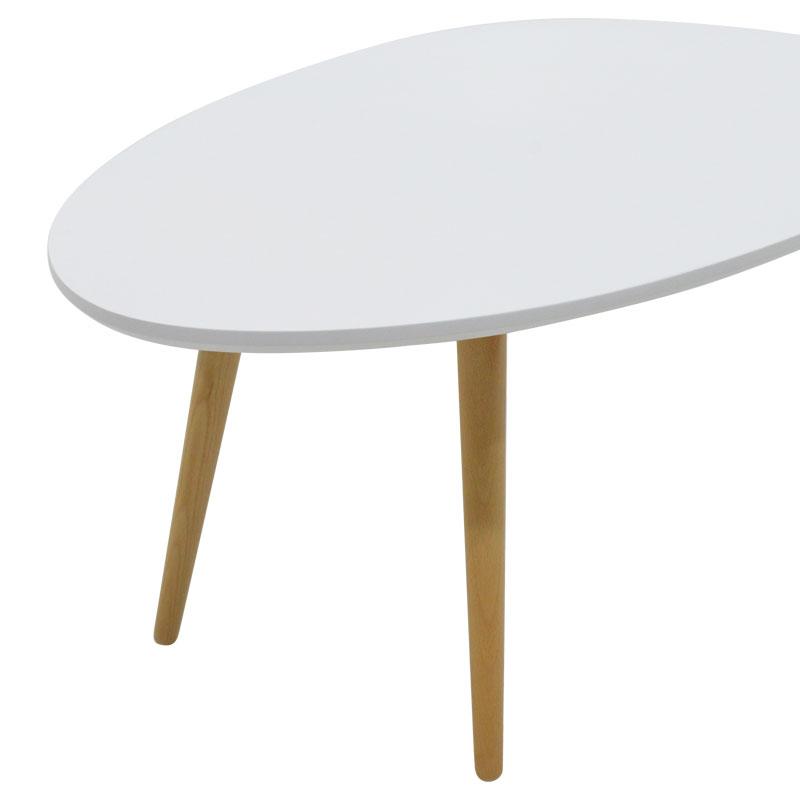 Τραπέζι σαλονιού HAMILTON pakoworld χρώμα λευκό-φυσικό 98x60x38εκ