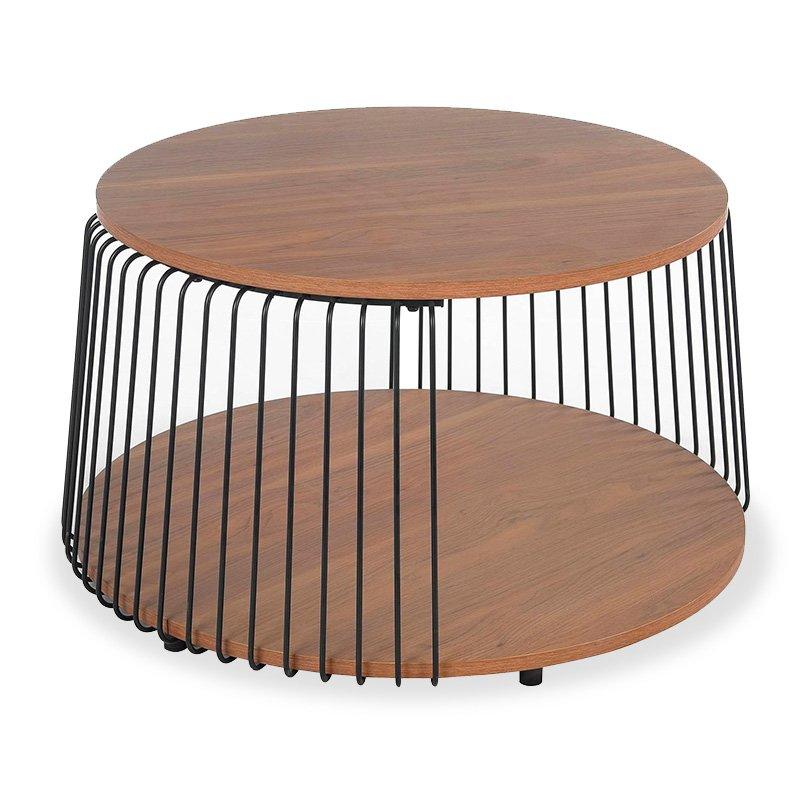Τραπέζι σαλονιού Leif pakoworld χρώμα φυσικό-μαύρο Φ72x45,5εκ