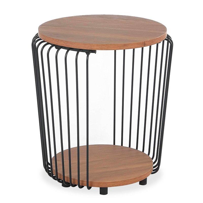 Βοηθητικό τραπέζι σαλονιού Leif pakoworld χρώμα φυσικό-μαύρο Φ40x46,5εκ