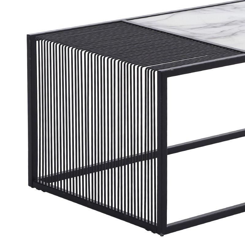Τραπέζι σαλονιού Code pakoworld γυαλί-μεταλλικό χρώμα μαύρο 120x60x45εκ
