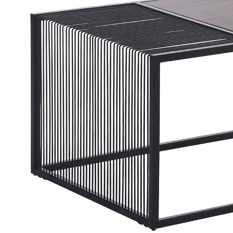 Τραπέζι σαλονιού Code pakoworld MDF μεταλλικό χρώμα μαύρο-φυσικό 120x60x45εκ
