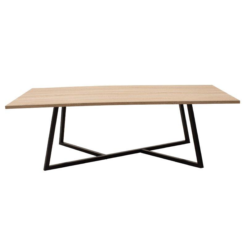 Τραπέζι σαλονιού Ivan pakoworld MDF μεταλλικό sonoma-μαύρο 140x80x45εκ