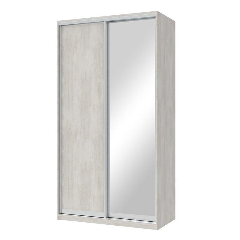 Ντουλάπα ρούχων Pallas pakoworld δίφυλλη καθρέπτης συρόμενη λευκό-γκρι 120x60x225εκ