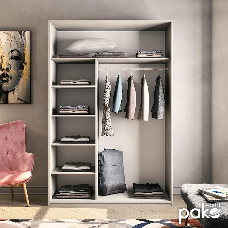 Ντουλάπα ρούχων Pallas pakoworld δίφυλλη συρόμενη λευκό-γκρι 150x60x225εκ