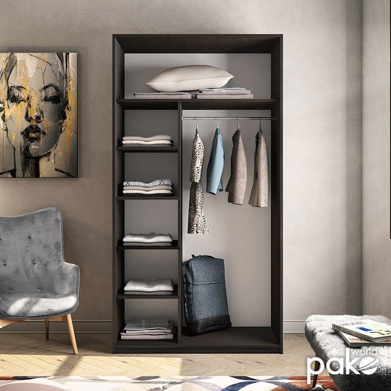 Ντουλάπα ρούχων Pallas pakoworld δίφυλλη καθρέπτης συρόμενη wenge 120x60x225εκ