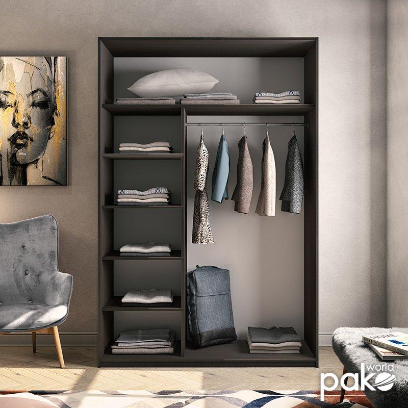 Ντουλάπα ρούχων Pallas pakoworld δίφυλλη καθρέπτης συρόμενη wenge 150x60x225εκ