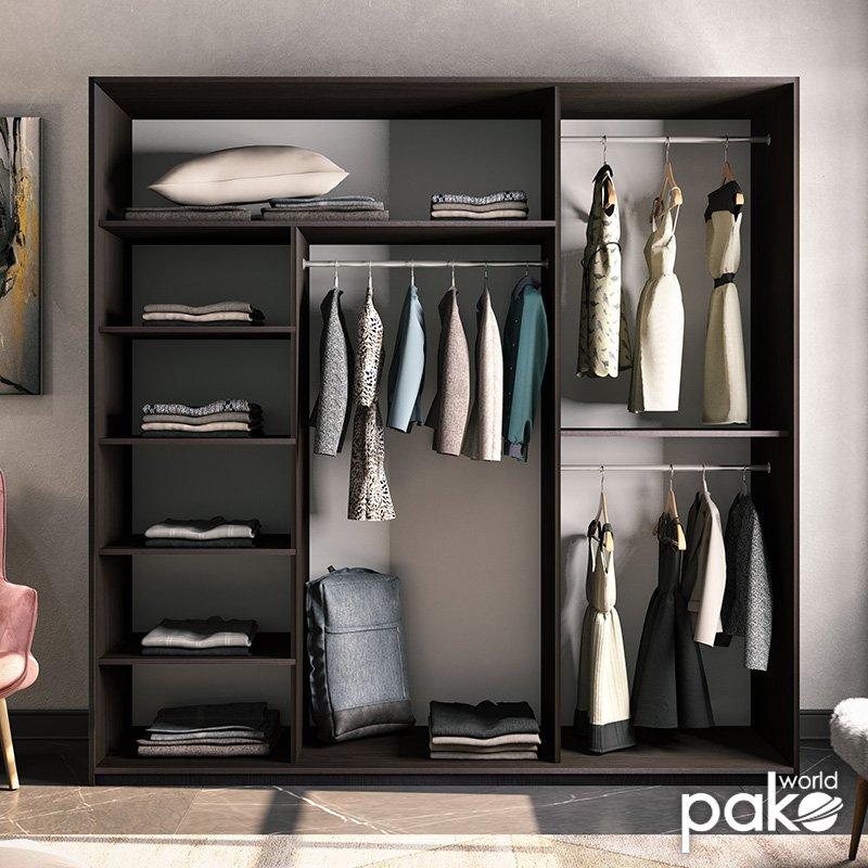 Ντουλάπα ρούχων Pallas pakoworld τρίφυλλη καθρέπτης συρόμενη wenge 225x60x225εκ