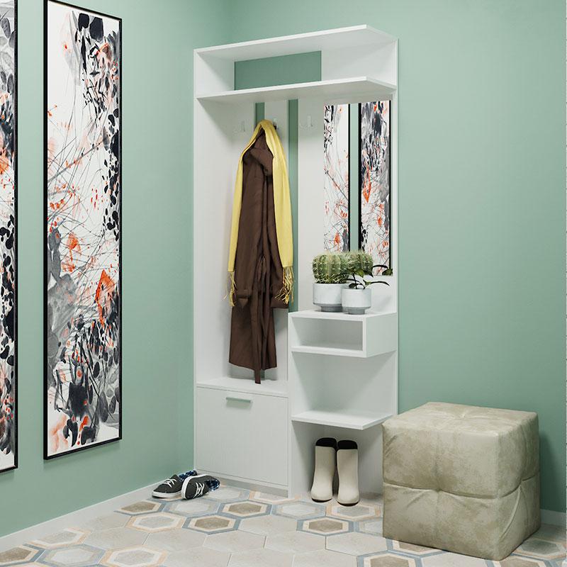 Έπιπλο εισόδου Klaus pakoworld χρώμα λευκό-γκρι 90x30x203εκ