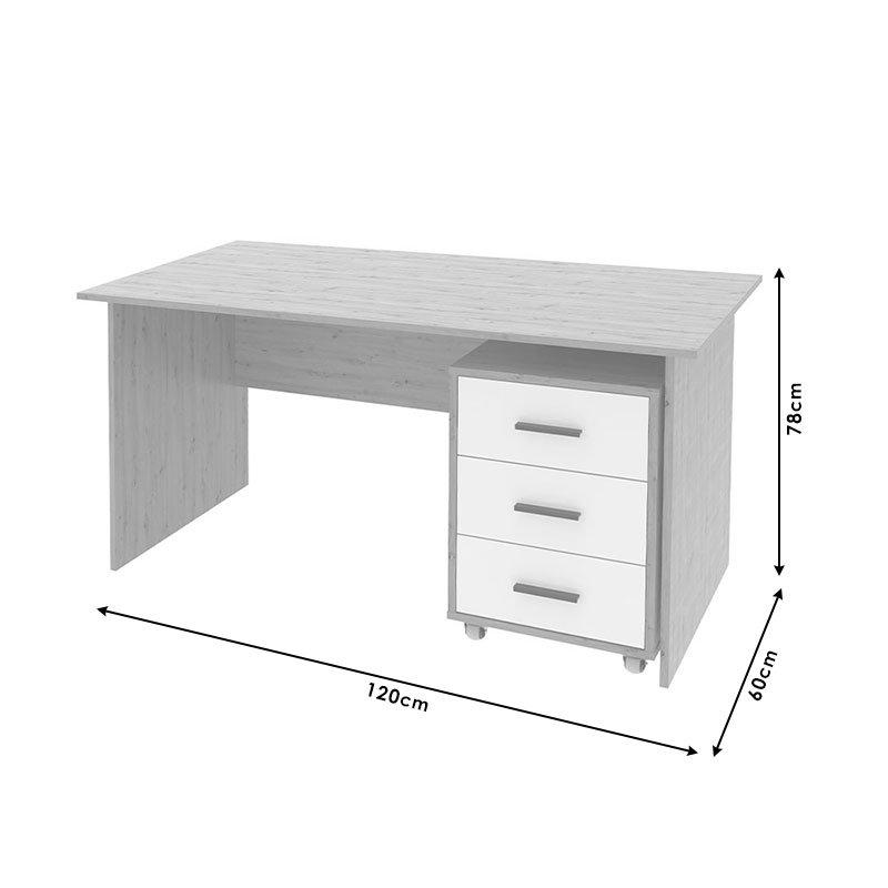 Γραφείο Ludo II pakoworld χρώμα sonoma-λευκό 120x60x78εκ
