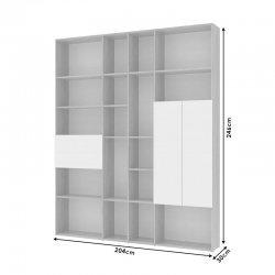 Βιβλιοθήκη Sybil pakoworld χρώμα sonoma-λευκό 204x30x246εκ