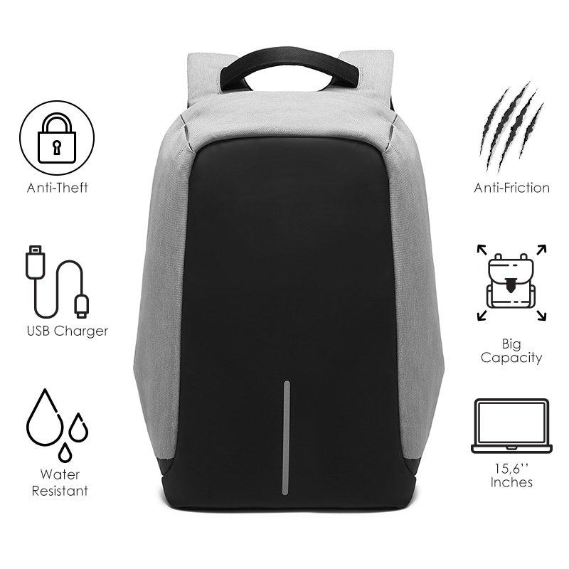 Σακίδιο πλάτης αντικλεπτικό TRV-001 pakoworld γκρι-μαύρο με usb+Laptop 15,6''