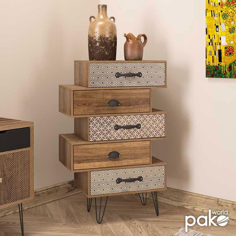 Συρταριέρα Boho pakoworld με πέντε συρτάρια καρυδί μεταλλικά πόδια 59x32x90εκ
