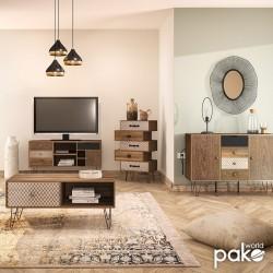 Έπιπλο τηλεόρασης Boho pakoworld καρυδί με μεταλλικά πόδια 120x39x64εκ