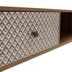 Τραπέζι σαλονιού Boho pakoworld καρυδί με μεταλλικά πόδια 100x50x46εκ
