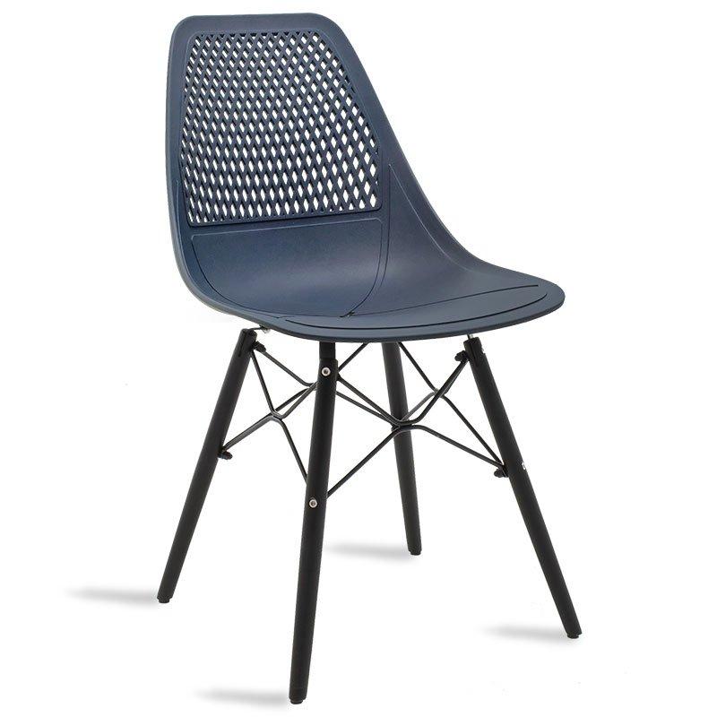 Καρέκλα Ninja pakoworld από PP χρώμα σκούρο μπλε με ξύλινα πόδια εσωτερικού-εξωτερικού χώρου
