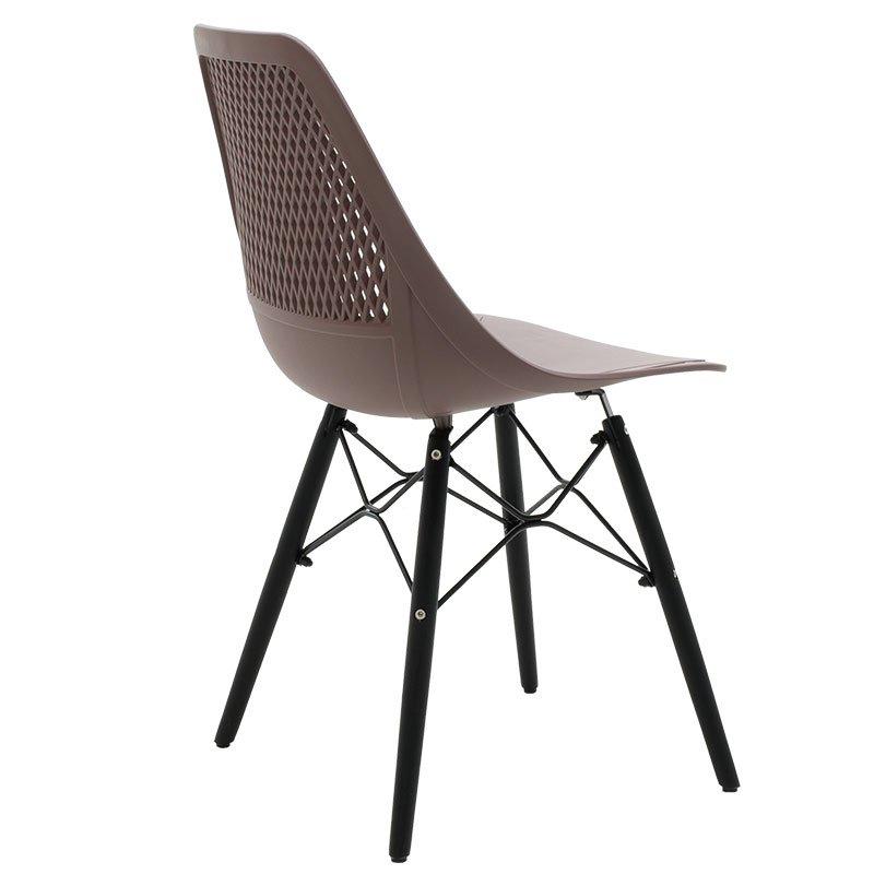 Καρέκλα Ninja pakoworld από PP χρώμα μόκα με ξύλινα πόδια εσωτερικού-εξωτερικού χώρου