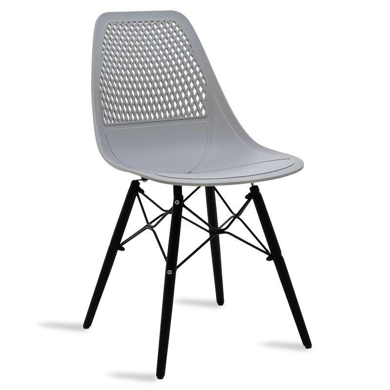 Καρέκλα Ninja pakoworld από PP χρώμα γκρι με ξύλινα πόδια εσωτερικού-εξωτερικού χώρου