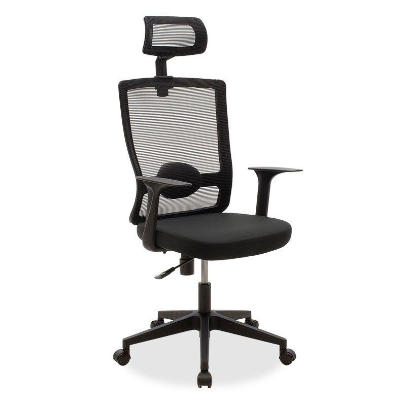 Καρέκλα γραφείου διευθυντή Oregon pakoworld με ύφασμα mesh χρώμα μαύρο