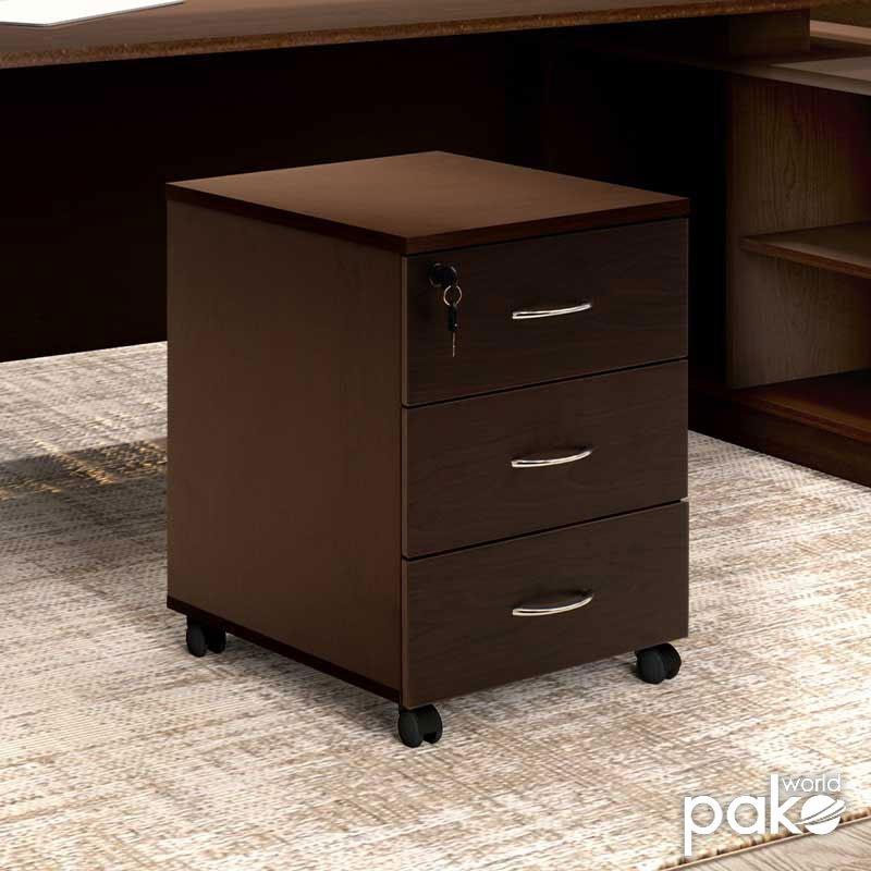 Συρταριέρα γραφείου επαγγελματική Amazon pakoworld τροχήλατη χρώμα καρυδί 39x47x52,5εκ