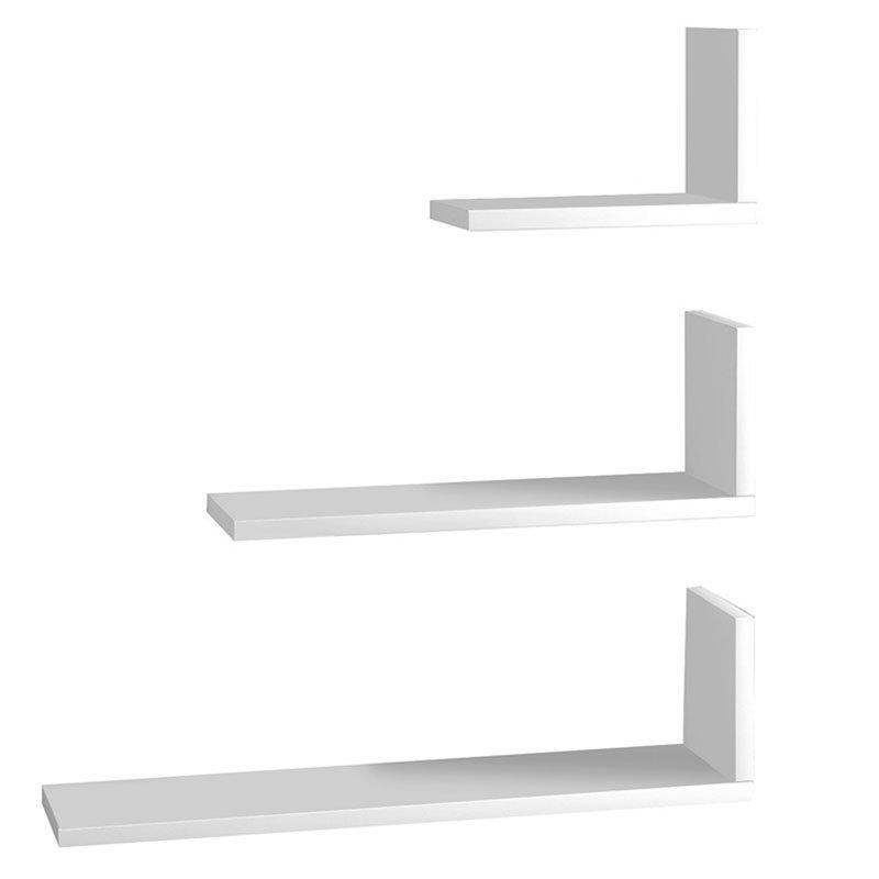 Ραφιέρα τοίχου τριών τεμαχίων PWF-0003 pakoworld χρώμα λευκό 60x14,5x66,5εκ