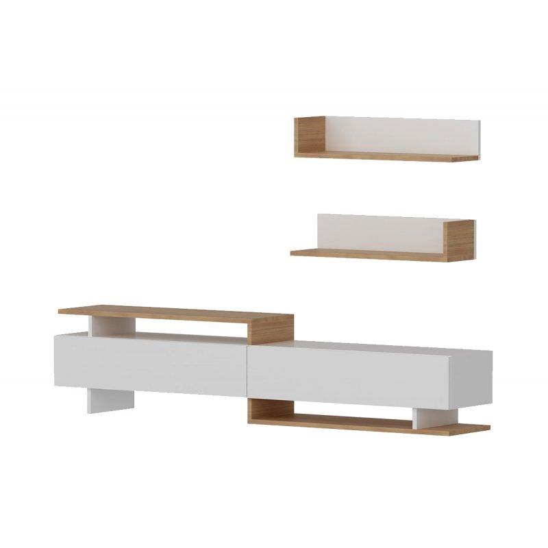 Σύνθετο σαλονιού PWF-0005 pakoworld χρώμα λευκό-teak 180x37,4x40εκ