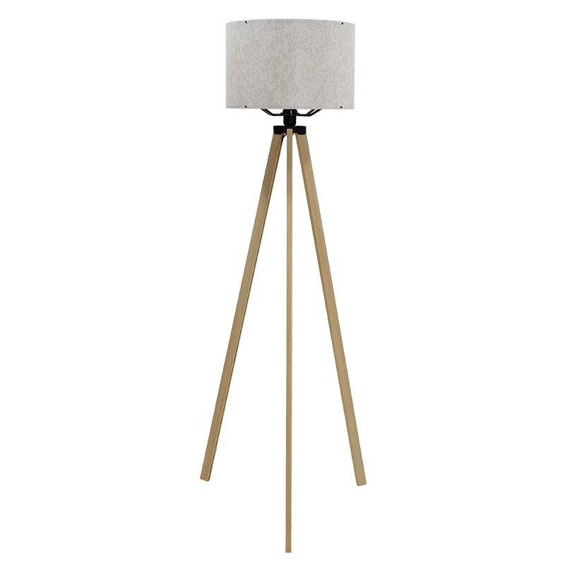 Φωτιστικό δαπέδου PWL-0001 pakoworld Ε27 πόδια sonoma-εκρού pvc καπέλο με σχέδιο Φ38x140εκ