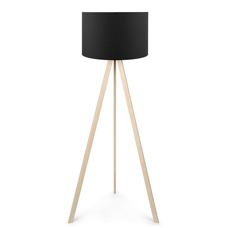 Φωτιστικό δαπέδου PWL-0002 pakoworld πόδια sonoma-μαύρο υφασμάτινο καπέλο Φ38x140εκ