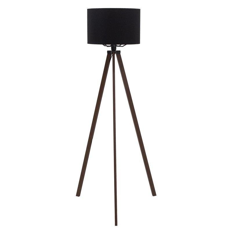 Φωτιστικό δαπέδου PWL-0002 pakoworld πόδια καρυδί-μαύρο υφασμάτινο καπέλο Φ38x140εκ
