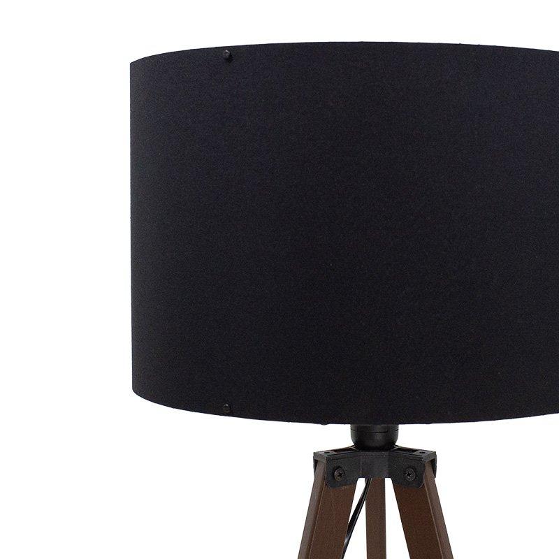 Φωτιστικό δαπέδου PWL-0002 pakoworld Ε27 πόδια καρυδί-μαύρο υφασμάτινο καπέλο Φ38x140εκ